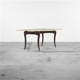 Artwork by Paul László, Dining table, Made of mahogany, acrylic, brass