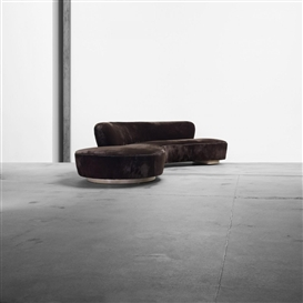 Artwork by Vladimir Kagan, Sofa, Made of upholstery, lacquered oak, vinyl