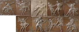 Artwork by Malvina Hoffman, Anna Pavlova and Mikhail Mordkin performing Alexander Glazunov's ballet 'Bacchanale, Made of each cast plaster with silver and bronze polychroming