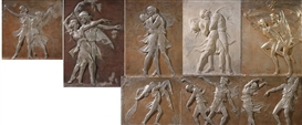 Artwork by Malvina Hoffman, Anna Pavlova and Mikhail Mordkin performing Alexander Glazunov's ballet 'Bacchanale', Made of each cast plaster with silver and bronze polychroming