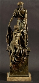 Artwork by Bruno Zach, Slave Girl, Made of bronze on a marbe base