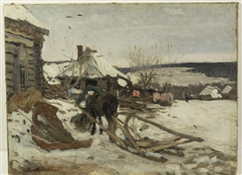 Artwork by Isaac Levitan, Horse-Drawn Sled in the Winter, Made of oil on canvas