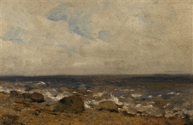 Artwork by Isaac Levitan, Rocky Shore, Made of oil on board
