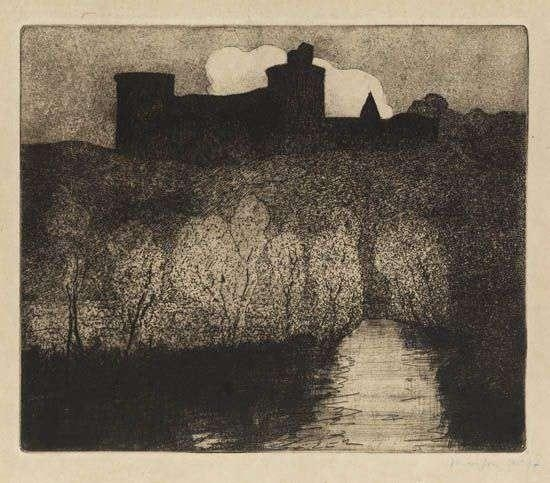 Artwork by Maxime Maufra, Tonquédec, Made of Aquatint and etching printed in dark brownish black on light tan Japan paper