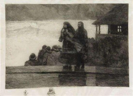 Artwork by Winslow Homer, Perils of the Sea, Made of Etching on vellum paper