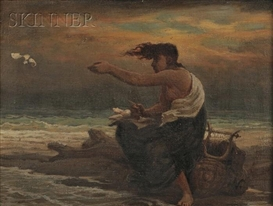 Artwork by Elihu Vedder, Poetess Casting her Verses to the Winds, Made of Oil on canvas