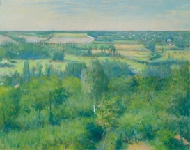 Artwork by Gustave Caillebotte, La Vallée de l'Yerres, Made of Pastel on paper laid down on board