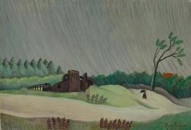 Artwork by Henri Rousseau, Un Matin de pluie, Made of Oil on canvas