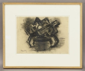 Artwork by Jacques Lipchitz, Etude pour un bas-relief debout, Made of charcoal on paper