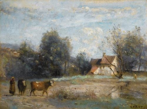 Artwork by Jean Baptiste Camille Corot, Luzancy, petites maisons de paysans au bord de l'eau, Made of oil  on  canvas