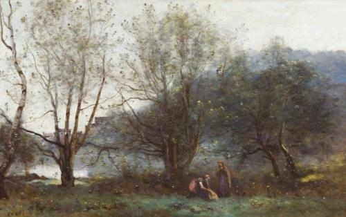 Artwork by Jean Baptiste Camille Corot, Les étangs de Ville d'Avray, Made of oil  on  canvas
