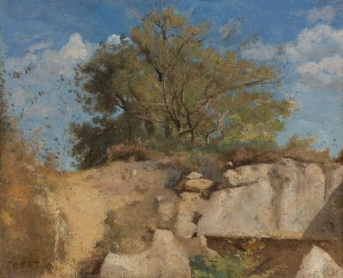Artwork by Jean Baptiste Camille Corot, Fontainebleau, Sommet de Carrière boisée, Made of oil  on  canvas
