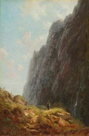 Artwork by Carl Spitzweg, GEBIRGSLANDSCHAFT mit Sennerin im wendelsteingebiet (Mountain and Milkmaid along a winding stone path), Made of oil on panel