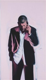 Artwork by Stephen Conroy, Self-Portrait on the Phone III, Made of oil on canvas