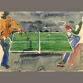 Artwork by Malcolm Morley, Ping Pong, Made of watercolor and pencil on paper