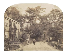 Artwork by Roger Fenton, Entrance to the Woods at Bolton Abbey, Made of albumen print annotated