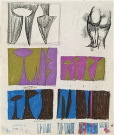 Artwork by Lorser Feitelson, Untitled, Made of Mixed media on paper