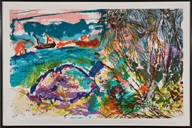 Artwork by Malcolm Morley, Our Tramp Streamer Hugging the Horizon off Coconut Island I, Made of Lithograph