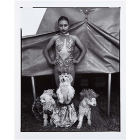 Artwork by Mary Ellen Mark, Leslie, Child dog trainer, Circus D'Portugal, Mexico City, Made of Toned gelatin silver print