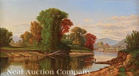 Artwork by Robert S. Duncanson, Ohio River Valley Landscape, Made of oil on canvas