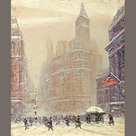 Artwork by Johann Berthelsen, Beginning of Broadway - Standard Oil Building, Made of oil on canvas