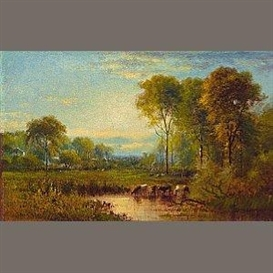 Artwork by James McDougal Hart, Late summer landscape, Made of oil on canvas