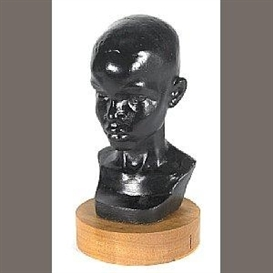 Artwork by Richmond Barthé, The Black Boy, Made of painted plaster on a wooden base