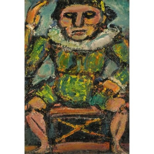 Artwork by Georges Rouault, POLICHINELLE, Made of Oil  on  paper  laid  down  on  canvas