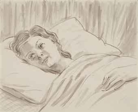 Artwork by John Currin, Girl in Bed, Made of ink and graphite on paper