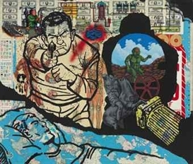 Artwork by David Wojnarowicz, History Keeps Me Awake at Night, Made of acrylic, spray enamel and printed paper collage on panel