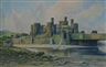 T.R. Sanderson, study of Conwy Castle and Estuary with figures
