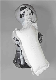 Artwork by Aernout Mik, Dummy (H), Made of sown and stuffed sculpture of printed fabric (photo linen), metal and a pillow