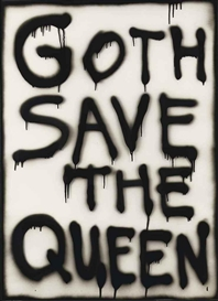 Artwork by Marc Bijl, Goth save the Queen, Made of spray enamel on glass