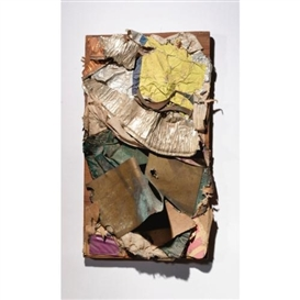 Artwork by John Chamberlain, Untitled, Made of paper, aluminum, steel, plastic collage and staples on wood