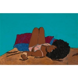Artwork by Mickalene Thomas, I Ain't Been Licked, Made of rhinestones, acrylic and enamel on panel