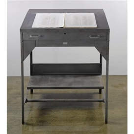 Artwork by Ann Hamilton, Untitled, Made of steel comptrollers desk, glass, linen portfolio, pin-pricked and oil-stained paper, audio equipment