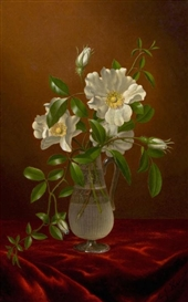 Artwork by Martin Johnson Heade, Cherokee Roses in a Glass Vase, Made of Oil on canvas