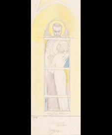 Artwork by Jan Toorop, Design for a church window for the Saint Aloysius chapel in the Saint Bavo church, Haarlem, Made of Pencil and crayon on paper