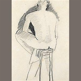 Artwork by David Park, Man Sitting on Stool, Seen from the Back, Made of pencil on paper