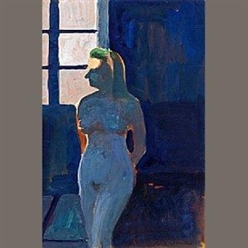 Artwork by Paul Wonner, Model Against Light (Female), Made of gouache on paper