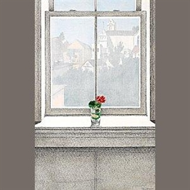 Artwork by Paul Wonner, Geranium and View of Noe Valley, Made of acrylic and pencil on paper