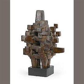 Artwork by Jacques Schnier, Sanctum Sanctorum, Made of bronze on wooden base