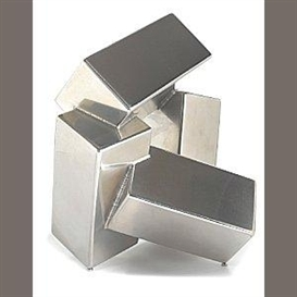 Artwork by Jacques Schnier, Four Cuboids on Three Points V, Made of stainless steel