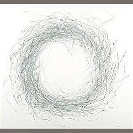 Artwork by Tom Marioni, #15 Bird's Nest, Made of black pencil on paper