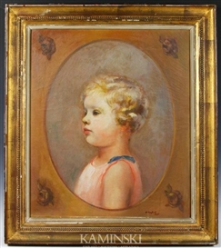 Artwork by Bernard Karfiol, Portrait of a young girl, Made of oil on canvas