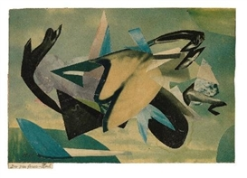 Artwork by Hannah Höch, DER PAR FORCE-FISCH (THE PAR FORCE-FISH), Made of Collage