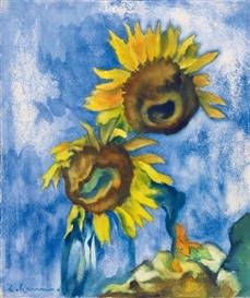 Artwork by Heinrich Nauen, ZWEI SONNENBLUMEN VOR BLAUEM GRUND (TWO SUNFLOWERS BEFORE BLUE SKY), Made of Gouache, watercolour and pastel on firm, lightly textured watercolour cardboard