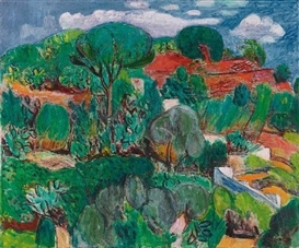 Artwork by Hans Purrmann, KAKTEENHÜGEL AUF ISCHIA (CACTUS HILL ON ISCHIA), Made of Oil on canvas