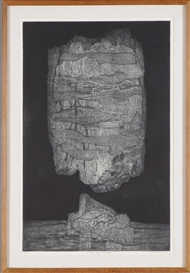 Artwork by Gabor Peterdi, THE BIG ROCK, Made of Etching on paper