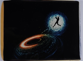 Artwork by Eve Sonneman, BASEBALL NEAR THE BLACK HOLE, Made of Unique polaroid
